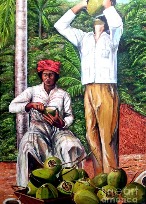 Coconut Greeting Card featuring the painting Drinking coconut water by Jose Manuel Abraham
