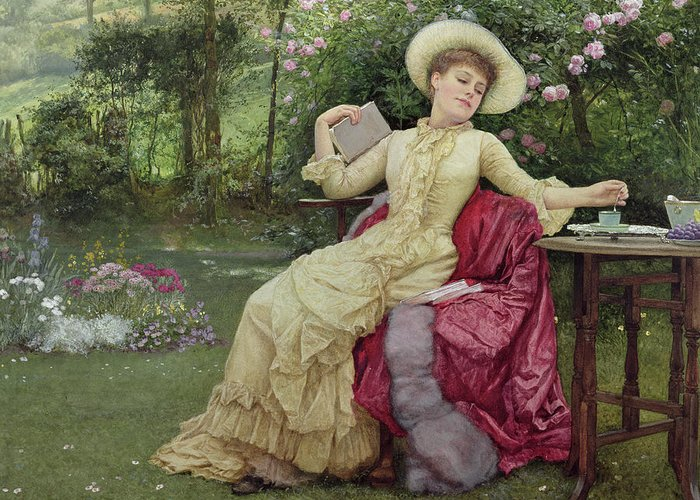 Victorian Greeting Card featuring the painting Drinking Coffee And Reading In The Garden by Edward Killingworth Johnson