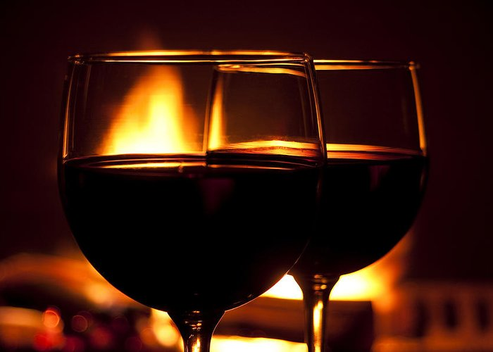 Wine Greeting Card featuring the photograph Drinks By The Fire by Andrew Soundarajan