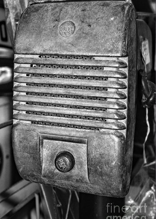 Paul Ward Greeting Card featuring the photograph Drive In Movie Speaker In Black And White by Paul Ward