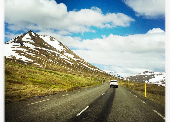 Iceland Greeting Card featuring the photograph Driving in Iceland - road and mountain landscape by Matthias Hauser