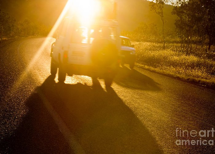 Automobile Greeting Card featuring the photograph Driving Into The Sun by Colin and Linda McKie