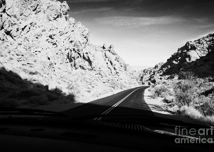 Valley Greeting Card featuring the photograph Driving Through Canyons On The White Domes Road Scenic Drive Valley Of Fire State Park Nevada Usa by Joe Fox