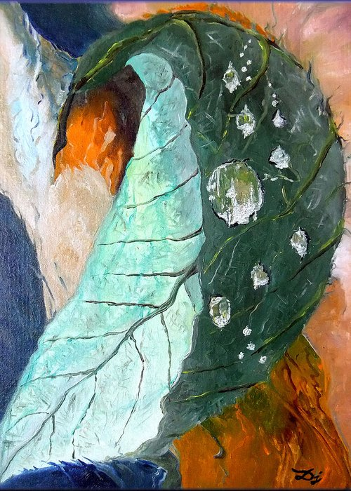 Drops On A Leaf Greeting Card featuring the painting Drops On A Leaf by Daniel Janda