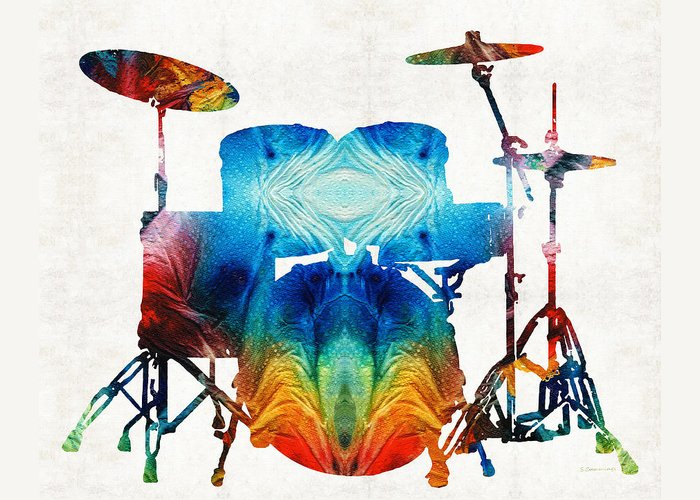 Drum Greeting Card featuring the painting Drum Set Art - Color Fusion Drums - By Sharon Cummings by Sharon Cummings