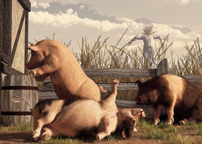 Pig Art Greeting Card featuring the digital art Drunken Pigs by Daniel Eskridge
