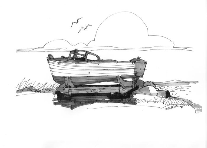 Ocracoke Greeting Card featuring the drawing Dry Dock In Ocracoke Nc 1970s by Richard Wambach