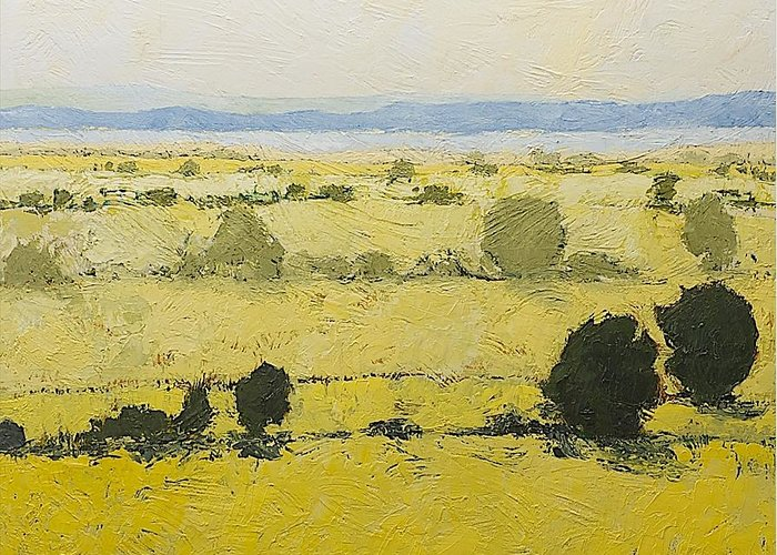 Landscape Greeting Card featuring the painting Dry Grass by Allan P Friedlander