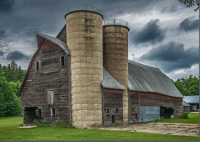 Old Barn Greeting Card featuring the photograph Dual Silos by Paul Freidlund