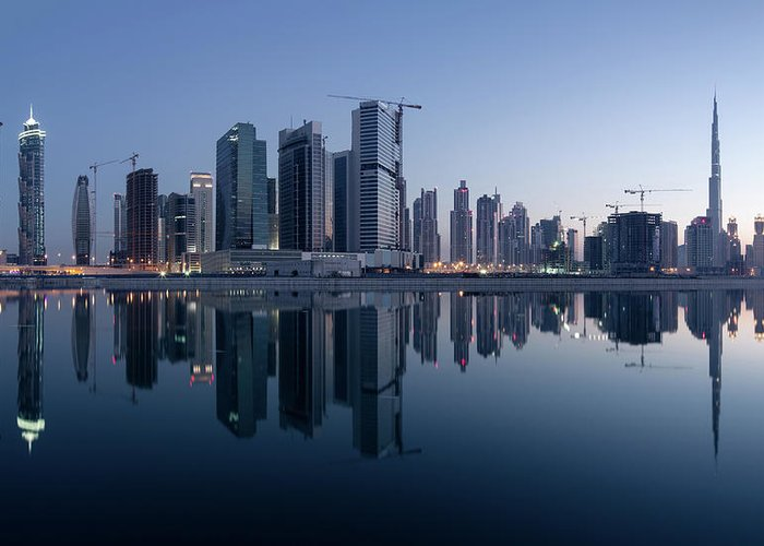 Tranquility Greeting Card featuring the photograph Dubai Business Bay Skyline With by Spreephoto.de