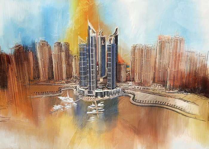 Dubai Greeting Card featuring the painting Dubai Marina Complex by Corporate Art Task Force