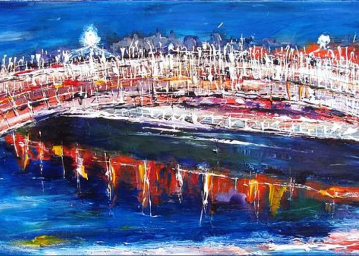 Liffey Greeting Card featuring the painting Dublin Panorama by Mary Cahalan Lee- aka PIXI