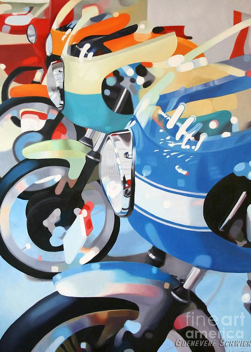Motorcycles Greeting Card featuring the painting Ducati Line by Guenevere Schwien