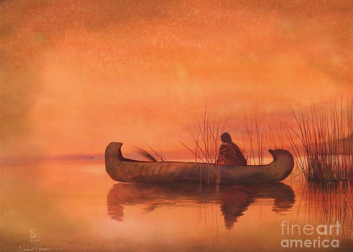 Watercolor Greeting Card featuring the painting Duck Hunter by Robert Hooper