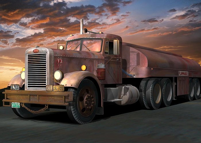 Truck Greeting Card featuring the digital art Duel Truck With Trailer by Stuart Swartz