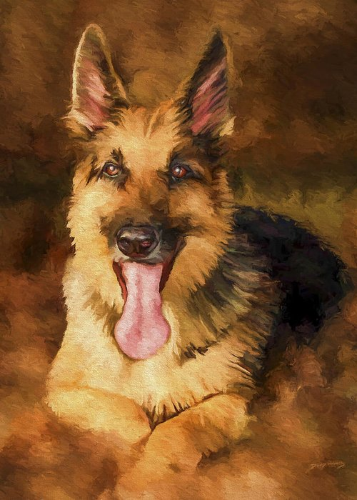 German Shepherd Greeting Card featuring the painting Duke by David Wagner