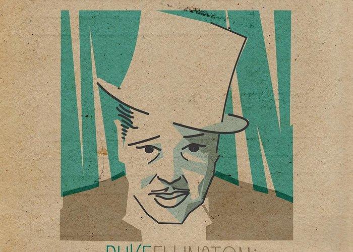 Duke Ellington Greeting Card featuring the digital art Duke Ellington by Giorgi Akhuashvili