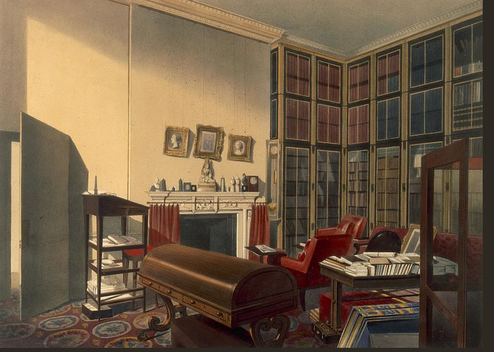 Library Greeting Card featuring the drawing Dukes Own Room, Apsley House, By T. Boys by Thomas Shotter Boys