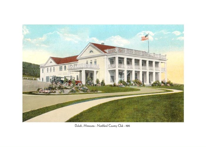 Northland Country Club Greeting Card featuring the digital art Duluth Minnesota - Northland Country Club - 1915 by John Madison