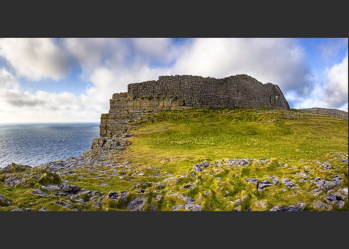 Galway Greeting Card featuring the photograph Dun Aengus - Iron Age Ruins Coastal Panorama by Mark E Tisdale