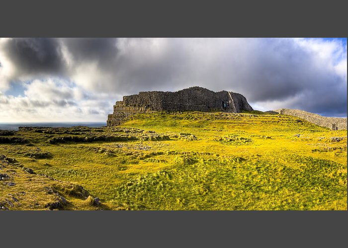 Galway Greeting Card featuring the photograph Dun Aonghasa - Iron Age Irish Ruins by Mark E Tisdale