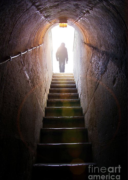 Above Greeting Card featuring the photograph Dungeon Exit by Carlos Caetano