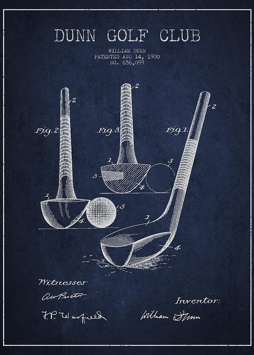 Golf Greeting Card featuring the digital art Dunn Golf Club Patent Drawing From 1900 - Navy Blue by Aged Pixel