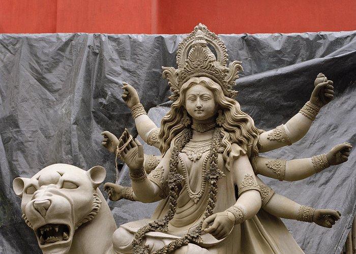 Woman Greeting Card featuring the photograph Durga In Kumartuli by Shaun Higson