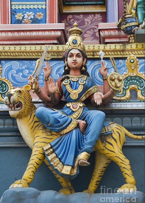 Durga Greeting Card featuring the photograph Durga Statue On Hindu Gopuram by Tim Gainey