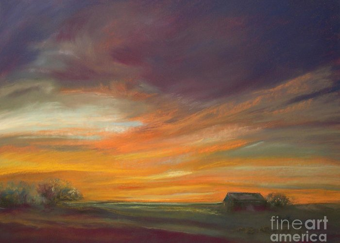 Dusk Greeting Card featuring the pastel Dusk by Addie Hocynec