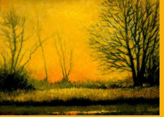 Landscape Greeting Card featuring the painting Dusk At The Refuge by Jim Gola