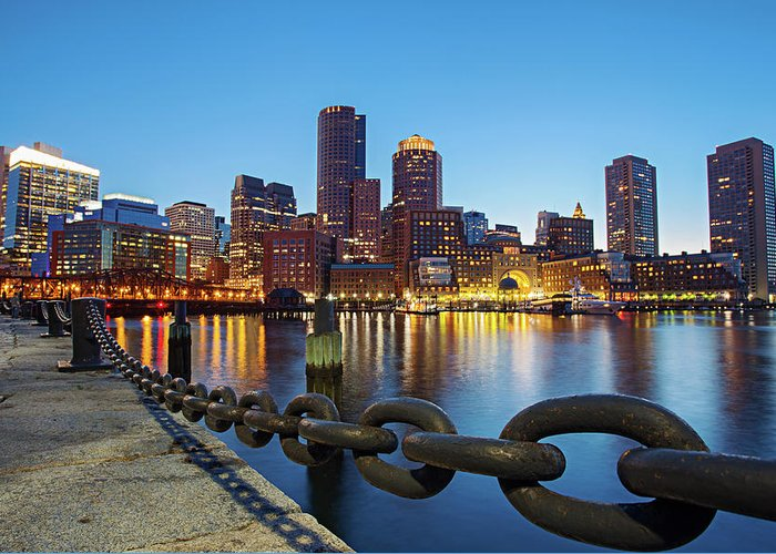 Clear Sky Greeting Card featuring the photograph Dusk In Boston by Photography By Nick Burwell