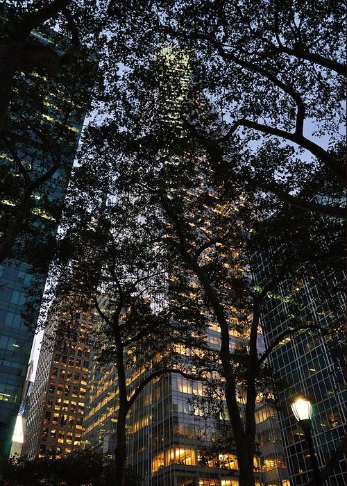 Bryant Park Greeting Card featuring the photograph Dusk In Bryant Park by Sherri Quick