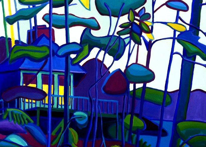 Landscape Greeting Card featuring the painting Dusk on Massapoag by Debra Bretton Robinson