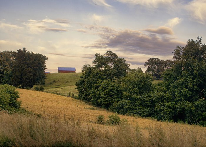 Farm Greeting Card featuring the photograph Dusk On The Farm by Heather Applegate