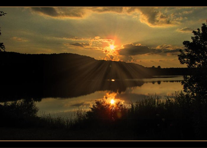 Sunset Greeting Card featuring the photograph Dusks Glow by Cindy Haggerty