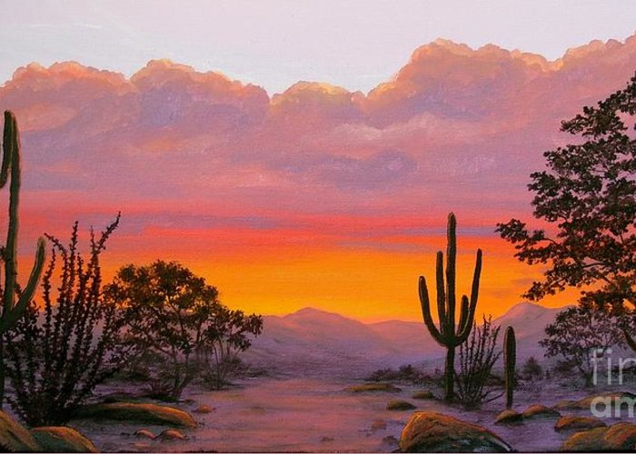 Landscape Greeting Card featuring the painting Dusty Sunset by Diane Fuller