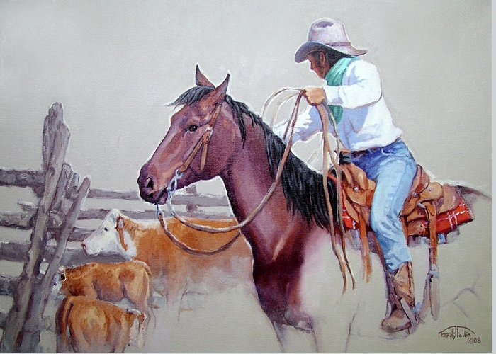 Cowboy Greeting Card featuring the painting Dusty Work by Randy Follis