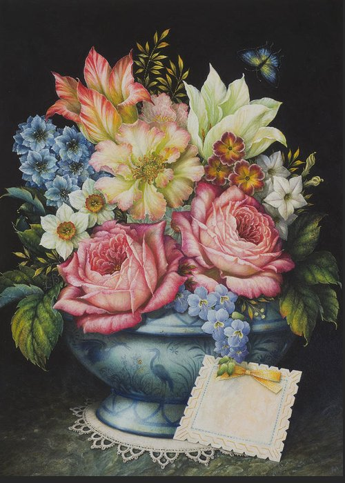 Flowers Greeting Card featuring the painting Dutch Flowers by Lynn Bywaters
