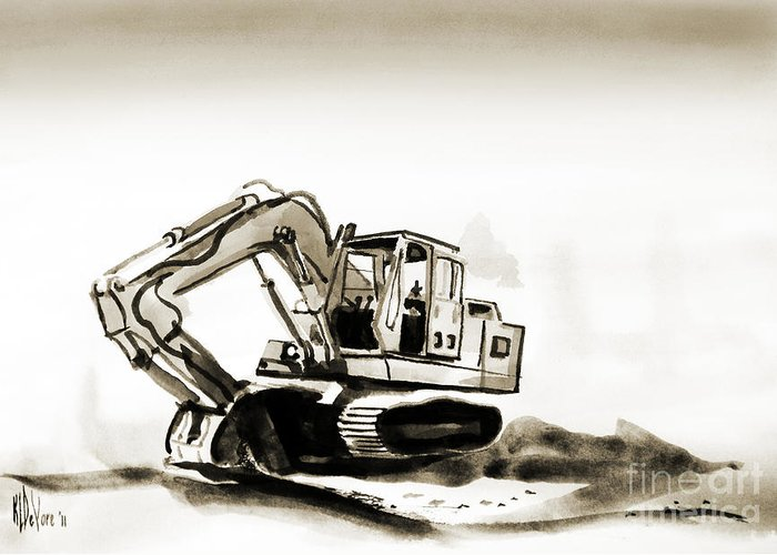 Duty Dozer In Sepia Greeting Card featuring the painting Duty Dozer In Sepia by Kip DeVore