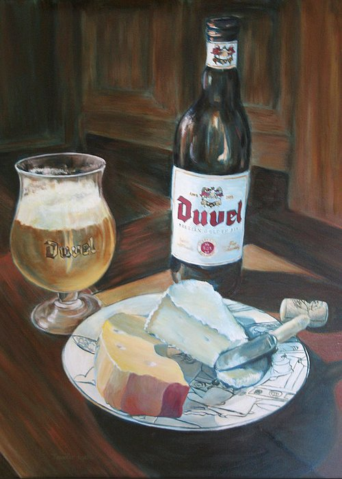 Cheese Greeting Card featuring the painting Duvel And Cheese Plate by Jennifer Lycke