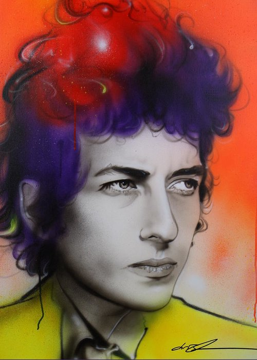 Bob Greeting Card featuring the painting Dylan by Christian Chapman Art