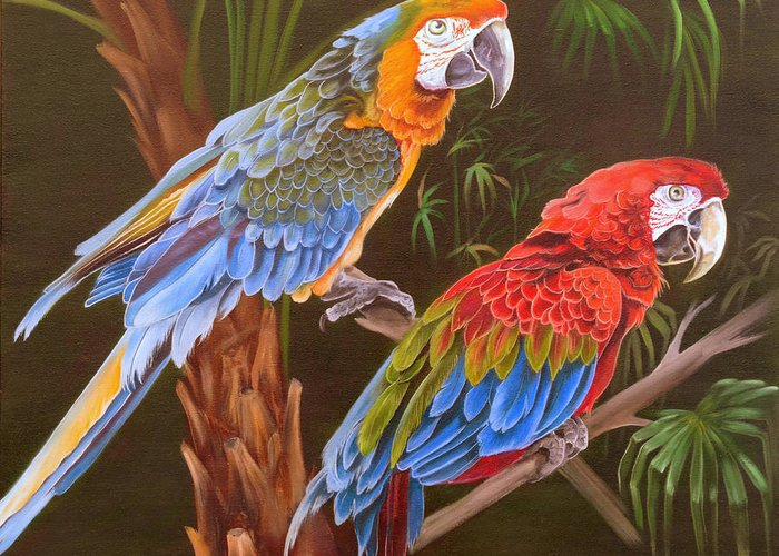 Birds Greeting Card featuring the painting Dynamic Duo by Phyllis Beiser