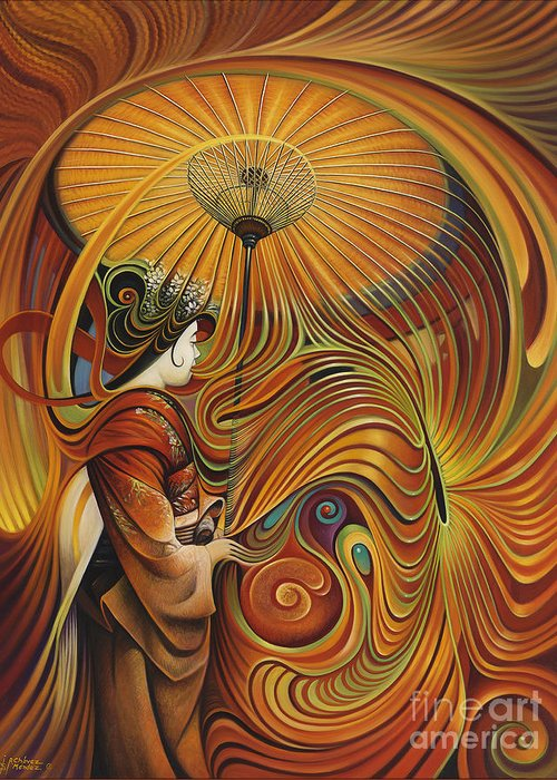 Dynamic Greeting Card featuring the painting Dynamic Oriental by Ricardo Chavez-Mendez