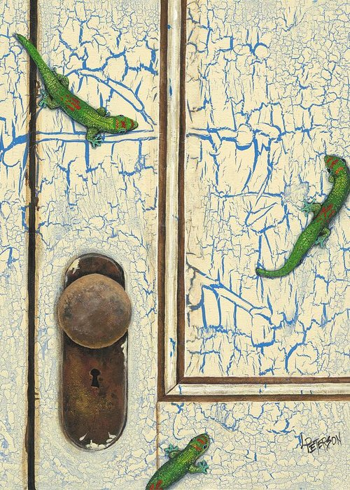 Lizards Greeting Card featuring the painting E Komo Mai by Linda Peterson