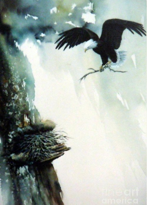 Eagle With Branch Greeting Card featuring the painting Eagle building Nest. by Lynne Parker