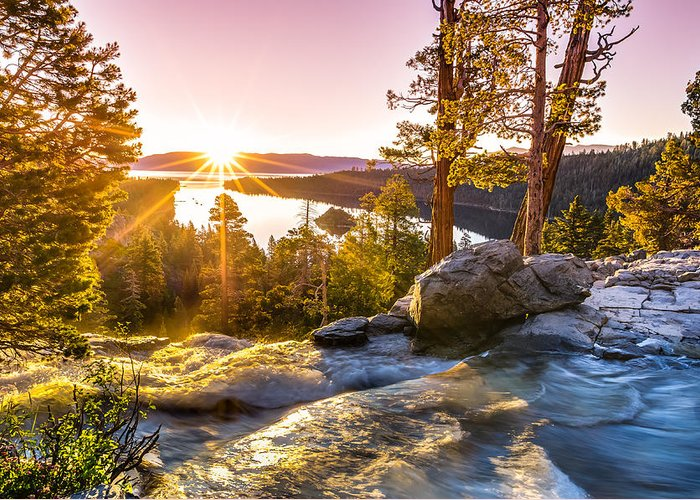 California Greeting Card featuring the photograph Eagle Falls Emerald Bay Lake Tahoe Sunrise First Light by Scott McGuire