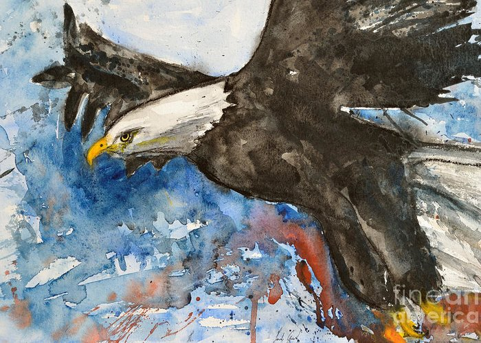 Flying Eagle Greeting Card featuring the painting Eagle In Flight by Ismeta Gruenwald