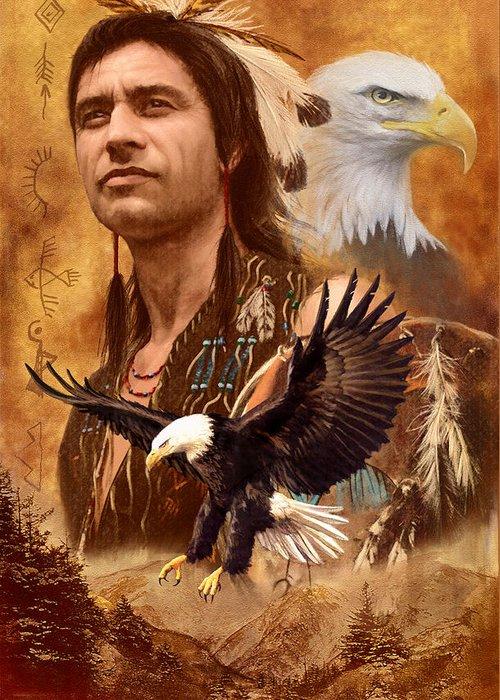 Native American Spirit Portrait Photographs Greeting Cards