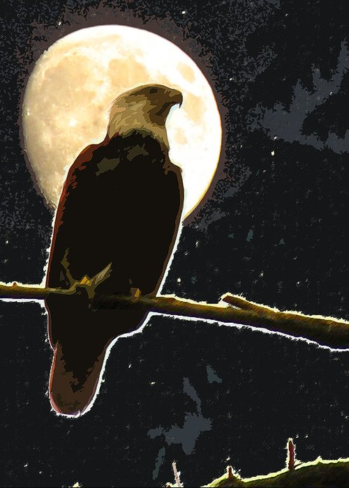 Eagle Greeting Card featuring the digital art Eagle Moonrise by Curtis Stein